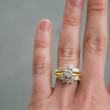 5 Ct Engagement Wedding Enhancer Wrap Guard Ring 10K Yellow Gold