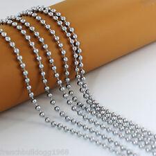 Kugelkette Edelstahl 316L 60cm/Ø 2,4mm-Gliederkette Halskette Kette für Dog Tag