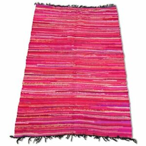 Cotton Chindi Pink Tonal Rug - 120cm x 180cm