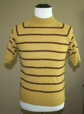 Vintage Mens 60s 70s Sweater Medium Mustard Yellow Brown Mockneck