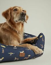 Joules Home Coastal Percher Square Pet Bed - Coastal Dog Print - M