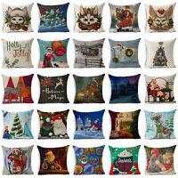 """18"""" Christmas Style Cotton Linen Pillow Case Sofa Throw Cushion Cover Home Decor"""