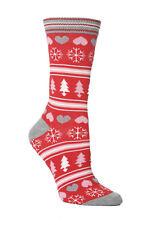 Ladies Novelty Christmas Trees Snowflakes & Hearts Socks 4-8 uk 37-42 eur  Red
