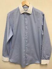 Reiss para Hombre Luz Azul Botones Camisa de Vestir con Cuello Blanco Talla Grande