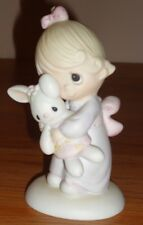 Precious Moments Jesus Loves Me Figurine 1978 Vintage Girl with Bunny Rabbit