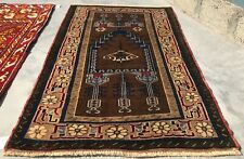 Authentic Hand Knotted Vintage Turkish Wool Area Rug 4.5 x 2.10 Ft (8236 Bn)