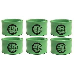6 Hulk Superhero Slap Bracelet Wristbands Party Favors Decoration