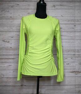 Athleta Breathe Lime Green Ruched Long Sleeve Shirt Women's M