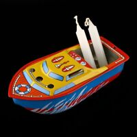 """5"""" Candle Powered Steam Boat Pop Pop Putt Putt Boat Vintage Litho Tin Toy Gift"""