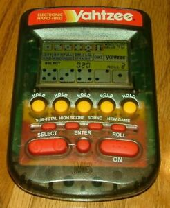 Electronic Hand-Held Yahtzee Milton Bradley 1995 Shaded Clear Color Works Well
