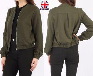 Womens Ladies Bomber Jacket Khaki Zip Up Top Plain Biker Sports Sweatshirt 8 -14