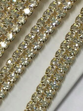 "Gold 2 ROW Rhinestone Cake Ribbon Banding Trim Wedding Decoration 3/8"" - 1 YARD"