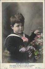 Sweet Little Boy w/ Flowers BON PETIT COEUR Tinted Real Photo Postcard c1910