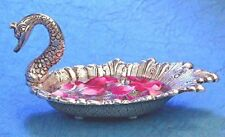 Metal Swan Statue Bowl Tray Set With Spoon Tableware Showpiece 10 cm