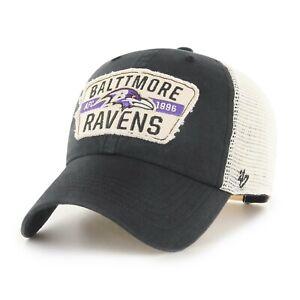 Baltimore Ravens Hat '47 NFL Football Black White Mesh Snapback Trucker Cap