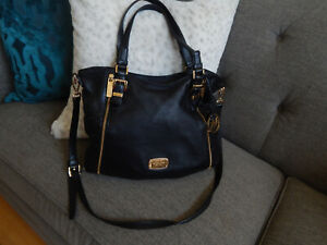 MICHAEL KORS BLACK LEATHER LARGE TOTE BAG WITH LONG STRAP