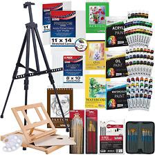 Art Supplies Kit Acrylic Painting Set Easel Brushes Paint Student Artist Starter