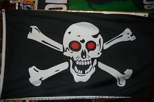 """Pirate Flag 3' x 5' Skull and Crossbones w/ red eyes Quality Banner """"Usa Seller"""""""