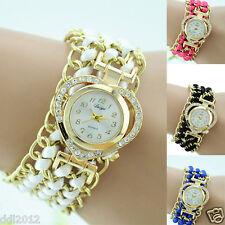 Duoya Fashion Women's Ladies Heart-shaped Crystal Dial Woven Bracelet Wristwatch
