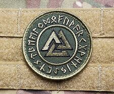 Viking Rune Valknut OD Forest Green Tactical Morale Patch Norse Sons Of Odin