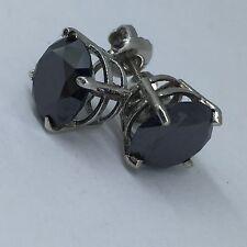 4.00 CT Black Diamond Stud Earring 14k White Gold Screw Back Top Quality Certify