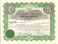 People's Bank of Virginia Beach stock certificate share