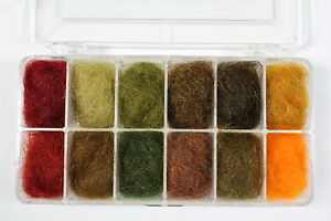 Traditional Irish Dubbing Box  Number 1 (Colours 1-12) Free Fly Tying DVD