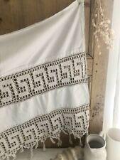 Antique French FILET LACE panel SHELF COVER curtain coton c1900