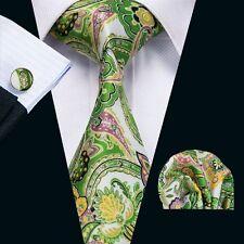 Men's Fashion tie green yellow flower necktie cufflinks hanky Set WEDDDING