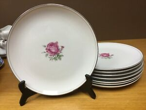 "8 IMPERIAL ROSE #6702 Fine China 10 1/4"" Dinner Plates w/SilverTrim Japan (2980)"