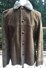 Lakeland Mens Coat Jacket Suede Leather Shearling Lining Vintage Size 40