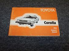 1982 Toyota Corolla Sedan Original Owner Owner's Operator Guide Manual DX 1.8L