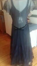 Nataya Black & Gold Victorian -Goth Style Layered Lace 2Pc Dress -M-  NWT