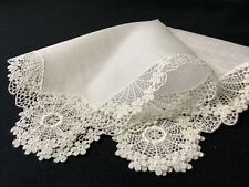 #6399🌟Premium Vintage Fancy Lace Happy Daisies Linen Wedding Handkerchief Heirl