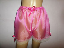 DEEP PINK ORGANZA  WHITE  LACE TRIM FRENCH CAMI STYLE KNICKERS  30-46 WAIST