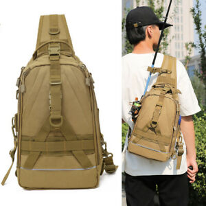 Fishing Tackle Bag Tactical Sling Pack Backpack Crossbody Shoulder Bag Daypack