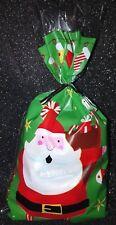 Christmas Santa / Snowman festive cellophane sweet favour party bags +twist ties