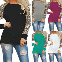 Plus Size Women Leopard Long Sleeve T Shirt Loose Tunic Casual Top Blouse Tee US