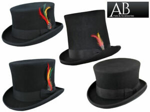 Top Hat Wool Fancy Dress Ascot Cosplay Wedding Stovepipe Formal Satin Lining