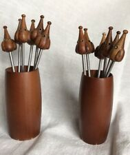 Vintage Wood - Pickle - Cocktail - Cheese Forks With Wood Holders Made In Italy