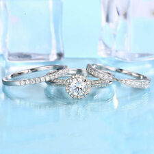 Vintage Round Diamond 14K White Gold Finish Women's Anniversary Trio Ring Set