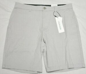 Calvin Klein Shorts Men's Printed Slim Fit Stretch Refined Chino Short Grey Q845