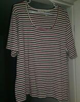 White Stag Womens Red Black Tan Striped Shirt Top Blouse Size 22W 24W
