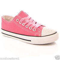 WOMEN LADIES GIRLS CASUAL DIAMANTE CANVAS LACE UP FLAT TRAINERS PUMPS SHOES SIZE