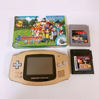 Nintendo Game Boy Advance Console System GBA Gold AGB-001 w/ 3 Game