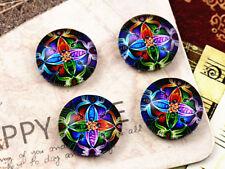 12mm Handmade Glass Cabochons | Colourful Mandala Design | 20pcs