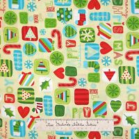 Christmas Fabric - Happy Holiday Words Stocking Snowflake Cream - AE Nathan YARD