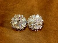 Vintage Aurora Borealis Crystal Glass Bead Clip On Earrings Floral Beautiful