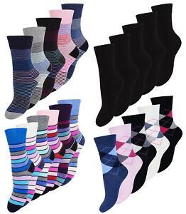 Damensocken Strümpfe ohne Gummi Baumwolle Mehrfarbig Freizeit Mädchen Socken NEU