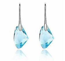 Aqua Blue Crystal Drop Silver Earrings crystal jewelry Elements gift